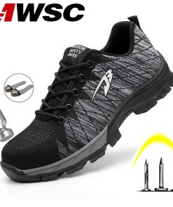 Men Safety Breathable Work Shoes With Steel Toe Cap-Indestructible Construction Shoes