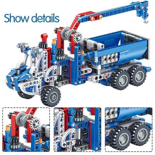 566pcs Construction Vehicle Dump Truck Building Model Toys for Boys 4