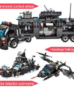 715pcs City Police Station Building Blocks SWAT Team Truck Educational Toy For Boys 4