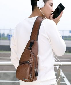 Luxury Men's USB Charging Casual Shoulder Bag 2
