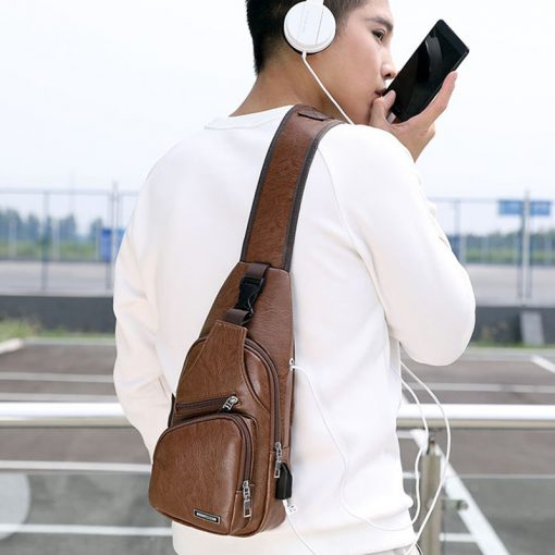 Luxury Men's USB Charging Casual Shoulder Bag 2