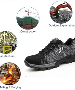 Men Safety Breathable Work Shoes With Steel Toe Cap-Indestructible Construction Shoes 6