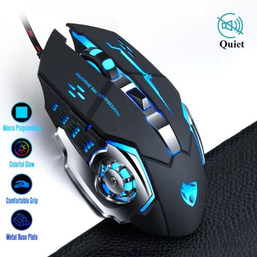 Pro Gamer Gaming Mouse Adjustable Wired Optical LED USB Cable Silent Mouse for laptop PC
