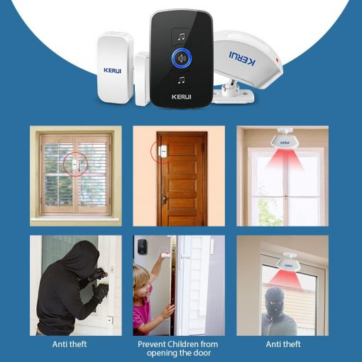 Wireless Smart Doorbell Alarm with LED Light and 32 Songs and Waterproof Touch Button 8