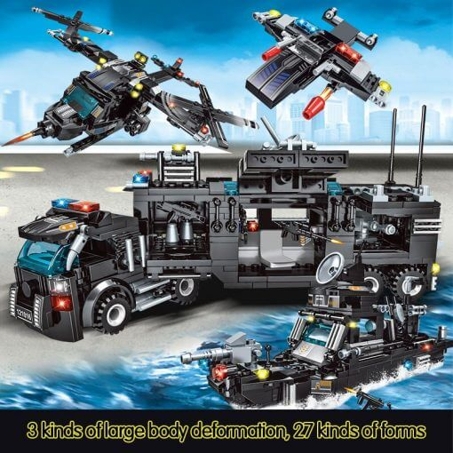 715pcs City Police Station Building Blocks SWAT Team Truck Educational Toy For Boys 2
