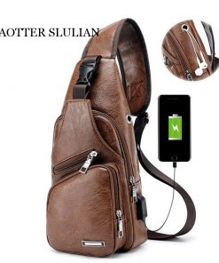 Luxury Men's USB Charging Casual Shoulder Bag