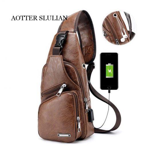 Luxury Men's USB Charging Casual Shoulder Bag