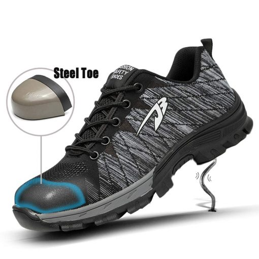 Men Safety Breathable Work Shoes With Steel Toe Cap-Indestructible Construction Shoes 2