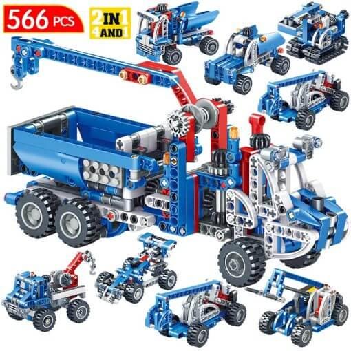 566pcs Construction Vehicle Dump Truck Building Model Toys for Boys