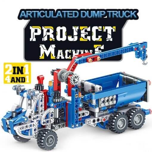 566pcs Construction Vehicle Dump Truck Building Model Toys for Boys 2