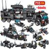 715pcs City Police Station Building Blocks SWAT Team Truck Educational Toy For Boys