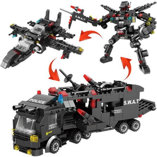 715pcs City Police Station Building Blocks SWAT Team Truck Educational Toy For Boys 10