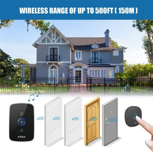 Wireless Smart Doorbell Alarm with LED Light and 32 Songs and Waterproof Touch Button 6
